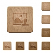 Image watermark on rounded square carved wooden button styles - Image watermark wooden buttons