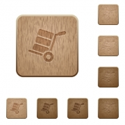 Hand truck with boxes on rounded square carved wooden button styles - Hand truck with boxes wooden buttons