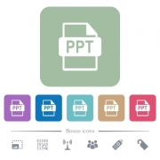 PPT file format white flat icons on color rounded square backgrounds. 6 bonus icons included - PPT file format flat icons on color rounded square backgrounds