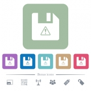 File warning white flat icons on color rounded square backgrounds. 6 bonus icons included - File warning flat icons on color rounded square backgrounds