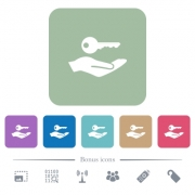 Security service white flat icons on color rounded square backgrounds. 6 bonus icons included - Security service flat icons on color rounded square backgrounds