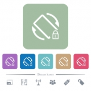 Mobile screen rotation locked white flat icons on color rounded square backgrounds. 6 bonus icons included - Mobile screen rotation locked flat icons on color rounded square backgrounds