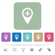 Airport GPS map location white flat icons on color rounded square backgrounds. 6 bonus icons included - Airport GPS map location flat icons on color rounded square backgrounds