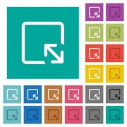 Resize object multi colored flat icons on plain square backgrounds. Included white and darker icon variations for hover or active effects. - Resize object square flat multi colored icons