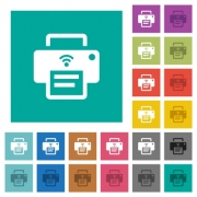 Wireless printer multi colored flat icons on plain square backgrounds. Included white and darker icon variations for hover or active effects. - Wireless printer square flat multi colored icons