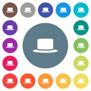 Silk hat flat white icons on round color backgrounds. 17 background color variations are included. - Silk hat flat white icons on round color backgrounds