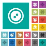 Dress button with 2 holes multi colored flat icons on plain square backgrounds. Included white and darker icon variations for hover or active effects. - Dress button with 2 holes square flat multi colored icons