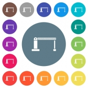 Closed barrier flat white icons on round color backgrounds. 17 background color variations are included. - Closed barrier flat white icons on round color backgrounds