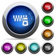 Horizontal zipper icons in round glossy buttons with steel frames - Horizontal zipper round glossy buttons