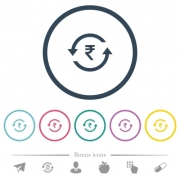 Rupee pay back flat color icons in round outlines. 6 bonus icons included. - Rupee pay back flat color icons in round outlines