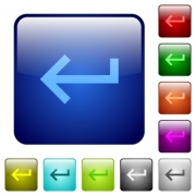 Keyboard return icons in rounded square color glossy button set - Keyboard return color square buttons