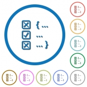 Source code checking flat color vector icons with shadows in round outlines on white background - Source code checking icons with shadows and outlines