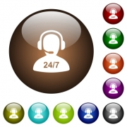 24 hours operator service white icons on round color glass buttons - 24 hours operator service color glass buttons