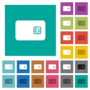 Chip card multi colored flat icons on plain square backgrounds. Included white and darker icon variations for hover or active effects. - Chip card square flat multi colored icons