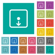Move object down multi colored flat icons on plain square backgrounds. Included white and darker icon variations for hover or active effects. - Move object down square flat multi colored icons