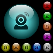 Wireless camera icons in color illuminated spherical glass buttons on black background. Can be used to black or dark templates - Wireless camera icons in color illuminated glass buttons