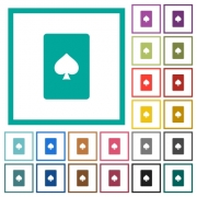 Spades card symbol flat color icons with quadrant frames on white background - Spades card symbol flat color icons with quadrant frames