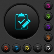 Fill out checklist dark push buttons with vivid color icons on dark grey background - Fill out checklist dark push buttons with color icons