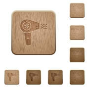 Hairdryer with propeller on rounded square carved wooden button styles - Hairdryer with propeller wooden buttons
