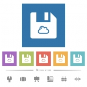 Cloud file flat white icons in square backgrounds. 6 bonus icons included. - Cloud file flat white icons in square backgrounds