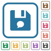 File comment simple icons in color rounded square frames on white background - File comment simple icons