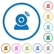 Wireless camera flat color vector icons with shadows in round outlines on white background - Wireless camera icons with shadows and outlines