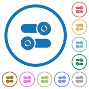 Toggle switches flat color vector icons with shadows in round outlines on white background - Toggle switches icons with shadows and outlines
