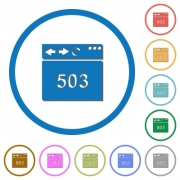 Browser 503 Service Unavailable flat color vector icons with shadows in round outlines on white background - Browser 503 Service Unavailable icons with shadows and outlines