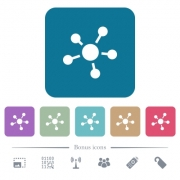 Network connections white flat icons on color rounded square backgrounds. 6 bonus icons included - Network connections flat icons on color rounded square backgrounds