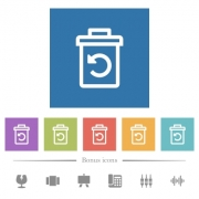 Undelete flat white icons in square backgrounds. 6 bonus icons included. - Undelete flat white icons in square backgrounds