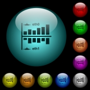 Network statistics icons in color illuminated spherical glass buttons on black background. Can be used to black or dark templates - Network statistics icons in color illuminated glass buttons