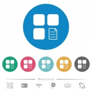 Component properties flat white icons on round color backgrounds. 6 bonus icons included. - Component properties flat round icons