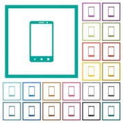 Modern mobile phone with three button flat color icons with quadrant frames on white background - Modern mobile phone with three button flat color icons with quadrant frames