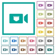 IP camera flat color icons with quadrant frames on white background - IP camera flat color icons with quadrant frames