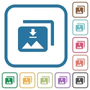 Download multiple images simple icons in color rounded square frames on white background - Download multiple images simple icons
