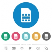 SIM card flat white icons on round color backgrounds. 6 bonus icons included. - SIM card flat round icons