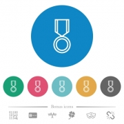 Medal flat white icons on round color backgrounds. 6 bonus icons included. - Medal flat round icons