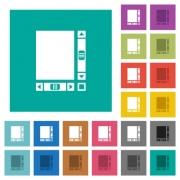 Blank document with scroll bars multi colored flat icons on plain square backgrounds. Included white and darker icon variations for hover or active effects. - Blank document with scroll bars square flat multi colored icons