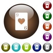 Nine of hearts card white icons on round color glass buttons - Nine of hearts card color glass buttons