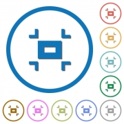 Small screen flat color vector icons with shadows in round outlines on white background - Small screen icons with shadows and outlines