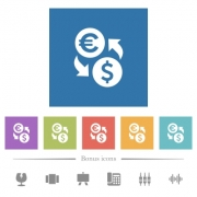Dollar Euro money exchange flat white icons in square backgrounds. 6 bonus icons included. - Dollar Euro money exchange flat white icons in square backgrounds