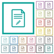 Edit document flat color icons with quadrant frames on white background - Edit document flat color icons with quadrant frames