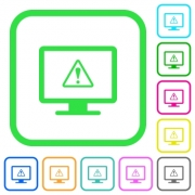 Display warning vivid colored flat icons in curved borders on white background - Display warning vivid colored flat icons