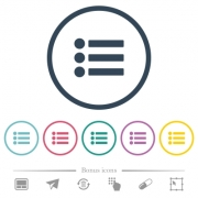 Bullet list flat color icons in round outlines. 6 bonus icons included.