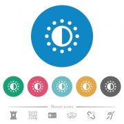 Saturation control flat white icons on round color backgrounds. 6 bonus icons included. - Saturation control flat round icons