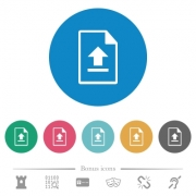Upload file flat white icons on round color backgrounds. 6 bonus icons included. - Upload file flat round icons