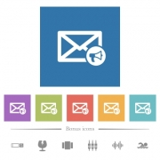 Mail reading aloud flat white icons in square backgrounds. 6 bonus icons included. - Mail reading aloud flat white icons in square backgrounds