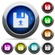 Upload file icons in round glossy buttons with steel frames - Upload file round glossy buttons