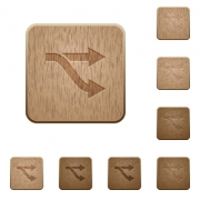 Fork on rounded square carved wooden button styles - Fork wooden buttons