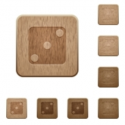 Domino three on rounded square carved wooden button styles - Domino three wooden buttons